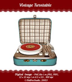 Retro, Vintage Turntable, Record Player - Printable Digital Illustration for DOWNLOAD- Clipart ( 12x12 or 8x10). Item number S0106 via Etsy