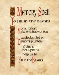 "Book of Shadows:  ""Memory Spell, To Fill In The Blanks,"" by Charmed-BOS, at deviantART."