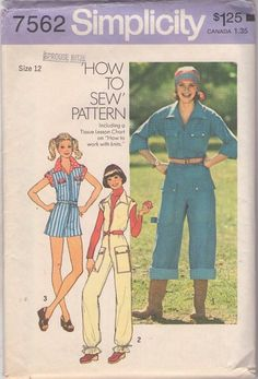 MOMSPatterns Vintage Sewing Patterns - Simplicity 7562 Vintage 70's Sewing Pattern FUNKY Easy How To Sew Roller Boogie Cuffed, Paper Bag Bottomed Jumpsuit, Coveralls, Romper