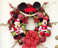 Mickey+Mouse+Christmas+Wreath+by+SparkleForYourCastle+on+Etsy,+$149.00