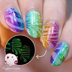 OPI Color Paints glitter gradient with glowy watermarble #piggieluv #colorful #nailart - bellashoot.com