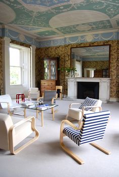 An exhibition on my favourite architect Alvar Aalto is currently on at Pitzhanger Manor in Ealing. Alvar Aalto, A Level Textiles, Eero Saarinen, New York Style, Mid Century Furniture, White Walls, Scandinavian Design, Living Area, Furniture Design