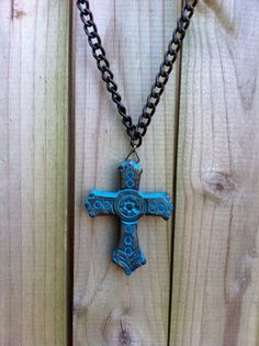 Blue Chunky Wooden Cross Necklace by RockHillJewelry on Etsy, $8.99