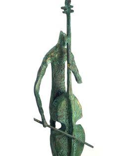 Music art Bronze sculpture Bass musician by SquareOneSculptures, $68.00