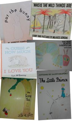 Awesome idea to make giant book covers for baby room!