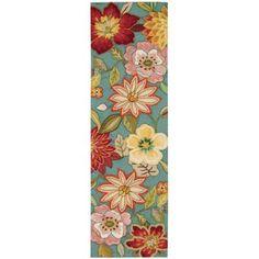 Nourison Spring Blossom Aqua 2 ft. 3 in. x 8 ft. Rug Runner-104335 - The Home Depot