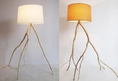 --Storm-Felled Branches Are Recycled into Hand-Made Lamps by Megan Finkel. Maybe a cnc cut leafy lampshade would look better though.