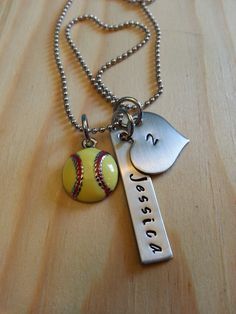 Hand Stamped Necklace Personalized Necklace Softball Mom or Girls Softball Necklace with Softball Charm Number Name on Etsy, $18.99