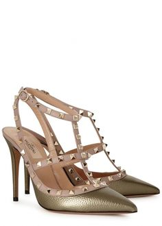 Rockstud 100 gold leather pumps - All Shoes - Women