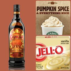 Pumpkin Spice Latte Pudding Shots  1 small Pkg. French Vanilla instant pudding ¾ Cup Milk 3/4 Cup Pumpkin Spice Kahlúa 8oz tub Cool Whip  Directions 1. Whisk together the milk, liquor, and instant pudding mix in a bowl until combined. 2. Add cool whip a little at a time with whisk. 3.Spoon the pudding mixture into shot glasses, disposable shot cups or 1 or 2 ounce cups with lids. Place in freezer for at least 2 hours