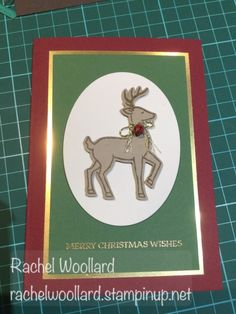 Santa's Sleigh, Santa's Sleigh Thinlits, Layering Ovals Framelits, Gold Foil, Gold embossing powder, Gold Baker's Twine Trio Pack, Mini Jingle Bells (by Rach W on SCS 08/15/2016)