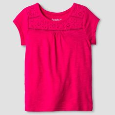 Toddler Girls' Short Sleeve Eyelet Solid T-Shirt Cat & Jack - Pink 2T, Toddler Girl's