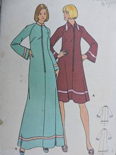 MISSES ROBE: Semi-fitted slightly flared robe in two lengths has slightly belled full length raglan sleeves, front zipper closing, pockets in side seams, shaped or standing collar and purchased ribbon or braid trim. Butterick 5742 Pattern will fit size Cool Patterns, Vintage Patterns, Lingerie Patterns, Fashion Patterns, Costume Patterns, Etsy Vintage, Lounge Wear, Vintage Fashion, Sleep
