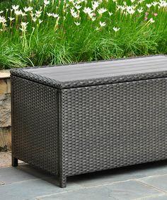 Antique Black Barcelona Patio Storage Bench #zulilyfinds & International Caravan Resin Wicker Storage Bench | Overstock.com ...