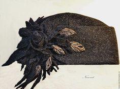 """Buy Woolen hat """"Vintage collection"""" c decorative elements - black, vintage style"""