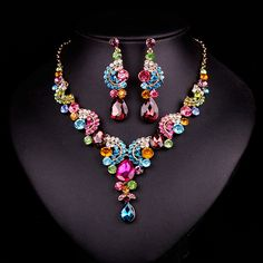 Fashion Dubai Rhinestone Bridal Jewelry Set Wedding Prom Party Accessories Gold Plated Necklace Earring Set For Brides Women