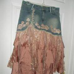 Lace Jeans, Denim And Lace, Denim Jeans, Stevie Nicks, Vintage Skirt, Vintage Denim, Gold Lace, Rose Gold, Gold Silk