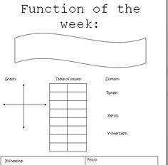 Function of the Week Idea. Give the template, then have them fill in a new function each week Algebra Activities, Maths Algebra, Math Resources, Math School, Middle School Teachers, Math Teacher, Math Classroom, 8th Grade Math, Ninth Grade
