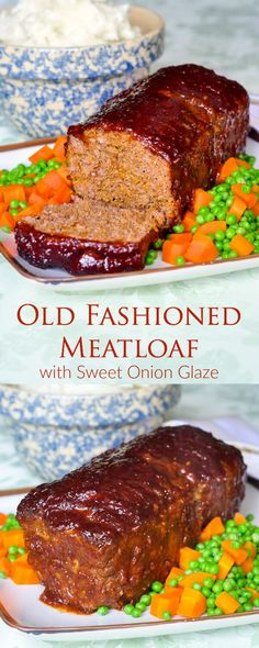 Meatloaf & Sweet Onion Glaze, a real old fashioned family favourite recipe! - Meatloaf with Sweet Onion Glaze – an old fashioned meatloaf recipe that stays moist and is compli - Homemade Meatloaf, Meatloaf Recipes, Meat Recipes, Cooking Recipes, Delicious Recipes, Easy Meatloaf, Amish Recipes, Recipies, Most Delicious Meatloaf Recipe