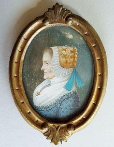 Ovales Miniatur Profil-Porträt einer älteren Dame mit Haube, Gouache auf Bein in Antiquitäten & Kunst, Malerei, Miniaturen & Silhouetten | eBay