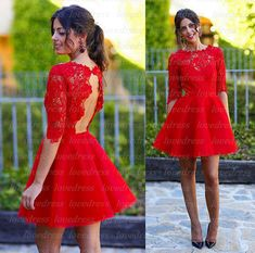 Long sleeve homecoming dresses, red homecoming dresses, lace homecoming dresses…