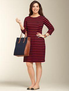 Talbots - Button-Shoulder Striped Dress
