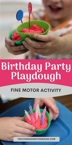 Put together a fun playdough activity that involves birthday pretend play. Candles and other loose parts make this a fun fine motor idea for toddlers and preschoolers. Preschool Activities At Home, Playdough Activities, Birthday Activities, Toddler Activities, Enrichment Activities, Preschool Classroom, Lesson Plans For Toddlers, Preschool Lesson Plans, Toddler Fun