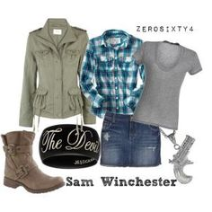 Replace the skirt with jeans though Supernatural Winchester bros female outfit Supernatural Inspired Outfits, Supernatural Fashion, Supernatural Clothes, Supernatural Sam, Castiel, Nerd Outfits, Fandom Outfits, Cute Outfits, Fashion Outfits