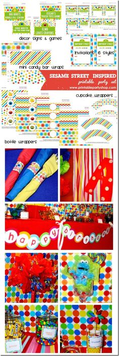 Sesame Street Inspired Printable Party Set- Printable Party Shop www.printablepartyshop.com  kids party ideas and printables