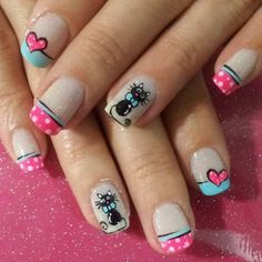 Polka Dot Nails for Valentines Cat Nail Art, Cat Nails, Simple Nail Art Designs, Toe Nail Designs, Ruby Nails, Cruise Nails, Finger, Polka Dot Nails, Polka Dots