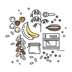 Hazelnut, Banana & Chocolate Chip Granola Bars, 100% plant-based and naturally sweetened. Perfect for a healthy snack! #vegan #recipe #lineicon #linevector #illustration
