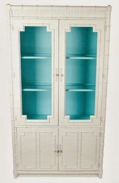 White faux bamboo cabinet with turquoise painted interior Bamboo Furniture, Cool Furniture, Painted Furniture, Furniture Design, Dream Furniture, Upholstered Furniture, Vintage Furniture, Grey Interior Design, Beautiful Interior Design