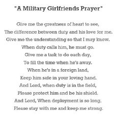 Military girlfriend prayer can't go a day without praying for him