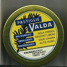 VALDA-CONFEZIONE-pastiglie- Vintage Italy, Vintage Tins, Retro Vintage, All About Italy, Old Pub, Old Advertisements, Childhood Days, Vintage Recipes, Poster Vintage