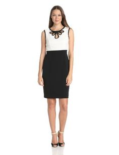 Adrianna Papell Women's Keyhole Neck Detail Sheath Dress, not the black and ivory...but the loop detail