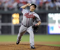 Atlanta Braves' Kris Medlen throws a pitch in the first inning of a baseball game against the Philadelphia Phillies on Friday, Aug. 2, 2013, in Philadelphia.