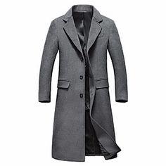 Shopping Cart | LightInTheBox Mens Overcoat, Winter Overcoat, Business Casual Dresscode, Black Wool, Black And Grey, Cheap Mens Jackets, Herren Winter, Langer Mantel, Long Winter Coats