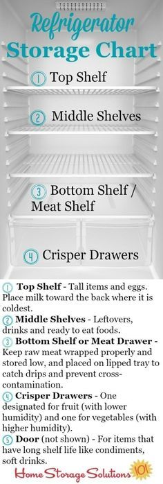 Refrigerator storage chart plus guidelines so you know exactly where to place your food in your fridge to keep it fresh and safe the longest {courtesy of Home Storage Solutions Good Tips Organisation Hacks, Home Organization, Apartment Kitchen Organization, Freezer Organization, Apartment Cleaning, Refrigerator Organization, Fridge Storage, Clean Refrigerator, Refrigerator Decoration