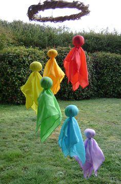 Waldorf inspired Rainbow Silk Fairy Mobile  Baby by softearthart, $45.00