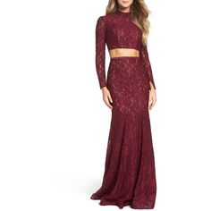 Women's La Femme Embellished Lace Two-Piece Gown ($502) ❤ liked on Polyvore featuring dresses, gowns, garnet, white 2 piece dress, white lace evening gown, two piece lace dress, two-piece dress and lace gown