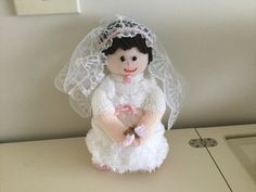 Knitted bride doll by me