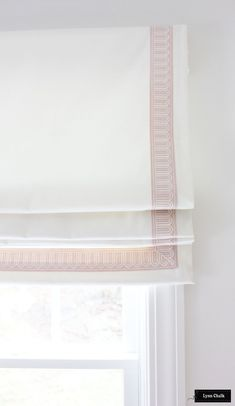 Schumacher Arches Embroidered Tape Trim Custom Roman Shades in Elliott Brushed Cotton in Nursery (shown in Blush Pink 2 Wide-comes in several colors) Roman Curtains, Roman Blinds, Gypsy Curtains, Blinds Curtains, Burlap Curtains, Window Drapes, Window Seats, Valance, Custom Drapes