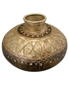 """Hand Painted & Embossed Decorative Vase, Traditional Indian Home Decor by Cultural Elements. $68.00. Measures: 10"""" tall x 12"""" wide, Product weight: 2.75 lbs. Made of wrought iron in rustic finish. Minor imperfections and dents are true characteristics of hand-crafting. Gold and bronze finish with decorative hand-embossed details. Handmade in India. Richly finished gold and bronze colored vase. Made of wrought iron and elegantly hand embossed with floral and geometric de..."""