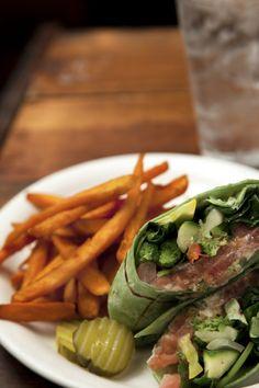 Veggie Wrap with Sweet Potato Fries