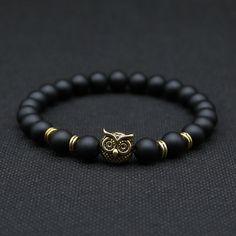 8mm placcato argento animale owl head bracciale con nero naturale lava pietra roccia uomini di energia bracciali perline per le donne a-8