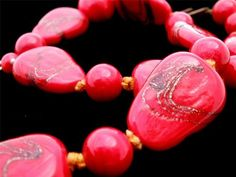 Marked Japan Hand Knotted Bronze Gold Foiled Red Art Glass Bead Vintage Necklace   eBay