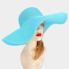 10.50$  Watch now - http://viigf.justgood.pw/vig/item.php?t=6sje2d36231 - Turquoise Wide Brimmed Solid Straw Floppy Hat Beach, Pool, Vacation 293606