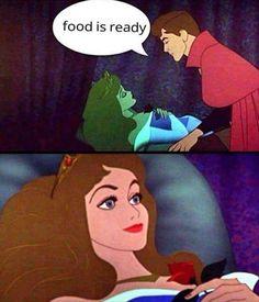 Sleeping beauty food is ready meme