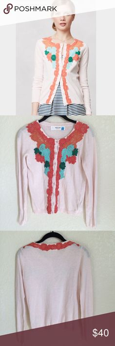 """Anthropologie Flower District Cardigan Cashmere - Anthropologie Sparrow Light Pink Floral Lace Cashmere Cardigan. Armpit-Armpit 17"""" Length 22"""" - Preowned Condition. Mild piling. - No Trades Anthropologie Sweaters Cardigans"""