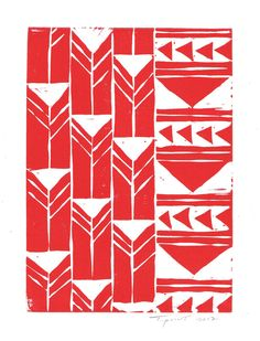 FREE SHIPPING Abstract Geometric Tribal Triangles Linocut Art Print / 5 x 7 Home Decor / Red, Hot Pink, Navy